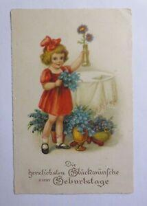 Geburtstag, Kinder, Blumen,  1930 ♥ (51069)