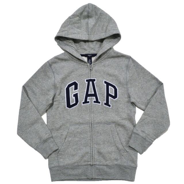0d3924b02 Gap Hoodie Boys Jacket Full Zip Kids Sweatshirt Logo Fleece Lined Coat S  Gray