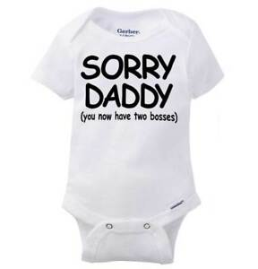 Sorry-Daddy-Two-Bosses-Gerber-Onesie-Bossy-Fathers-Day-Funny-Baby-Romper