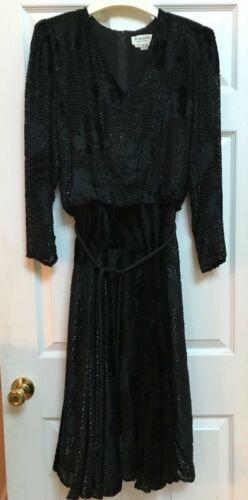 The Silk Farm Black 100% Silk  Vintage dress Size
