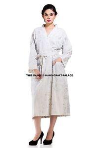 Image is loading Indian-Cotton-Silver-Ombre-Mandala-Long-Kimono-Bath- 4eb67911e