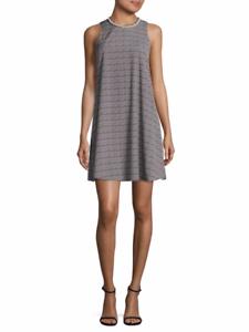 Designer Karl Lagerfeld Blau Pearl Neck Printed Sleeveless Runway Dress Größe 8