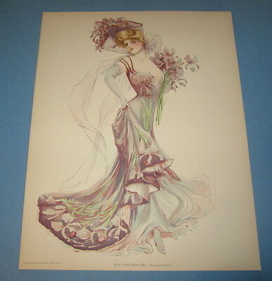 Old Vintage 1907 - Antique VICTORIAN PRINT - New York Show Girl - KNICKERBOCKER