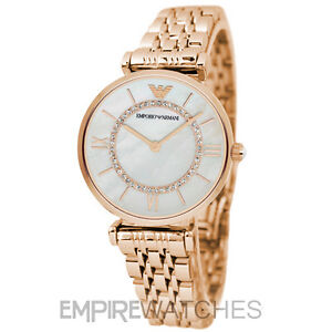 NEW  EMPORIO ARMANI LADIES GIANNI ROSE GOLD T-BAR WATCH - AR1909 ... 683ed48e242b