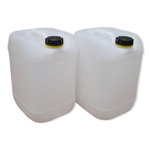 2 Stück 20 L weiß Wasserkanister Trinkwasserkanister lebensmittelecht dicht.