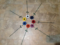 Up-cycled Metal: Large 4 Colorful Painted Garden Flower Stake Decorations Ooak