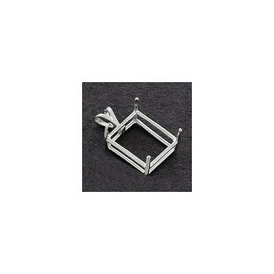 (16x12mm - 25x18mm) Emerald Shape Deep Cut Solid Sterling Silver Pendant Setting