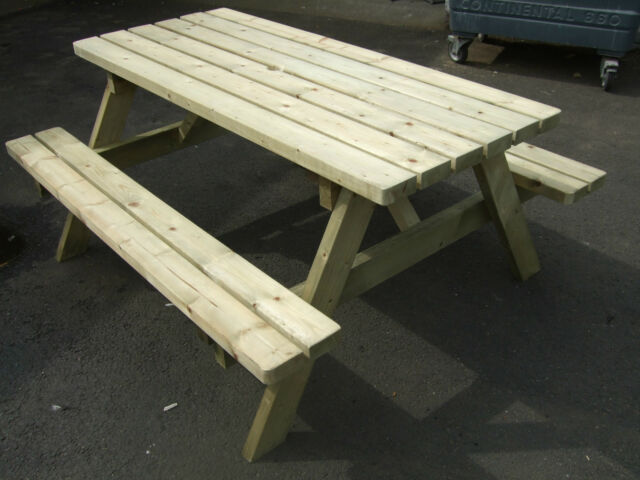 UK Made Fully Assembled Heavy Duty Wooden Garden Love Seat Bench With Table Two Seater Triangle For Sale | EBay