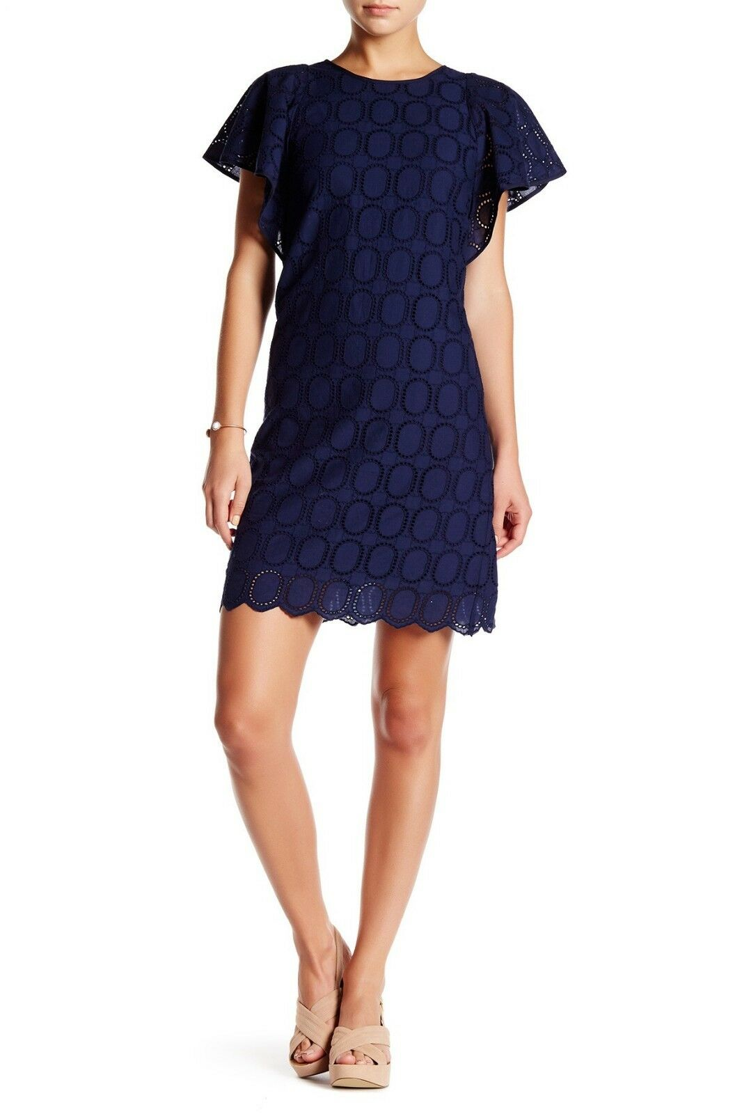 0b91396d J.CREW Flutter Sleeve Crochet Navy Scalloped Eyelet Shift Dress Style F0982