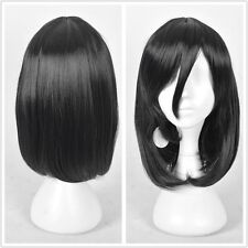 Black Womens Shoulder Long Black Bob Haircuts Straight Hair Full Wigs + Cap