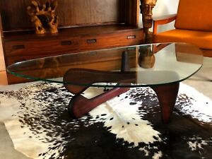 Noguchi Style Coffee Table With Boomerang Shaped Glass Top Ebay