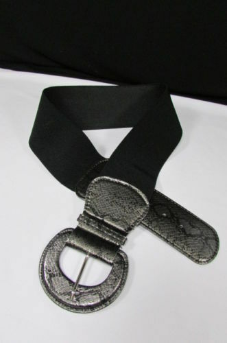 Women Elastic Classic Belt Black Snake Skin Animal Print Round Plus size M L XL