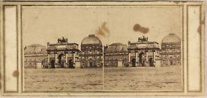 Parigi Palais Da La Tuileries c1860 Foto Stereo Vintage Albumina