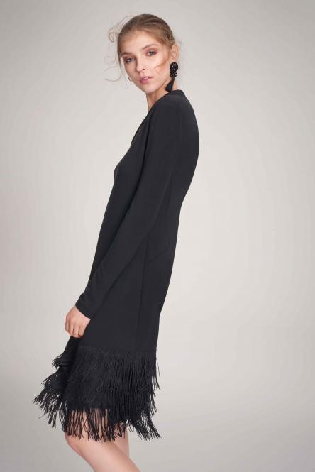 Riani Kleid in schwarz mit dreistufigem Fransen-Saum Größe 44