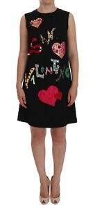 NEW DOLCE & GABBANA Dress Black San Valentino Crystal Shift IT40 / US6 / S