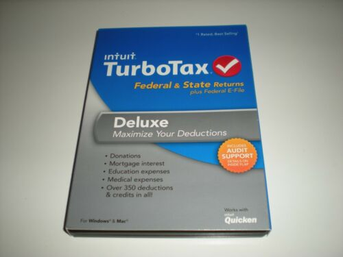 Federal and State Federal E-file Turbotax 2013 Deluxe New in sealed box.