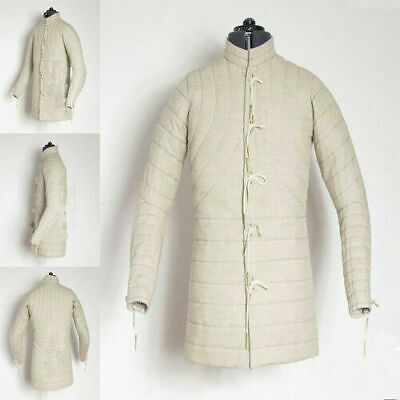 Medieval Gambeson thick padded coat Aketon vest Jacket Armor COSTUMES DRESS eW