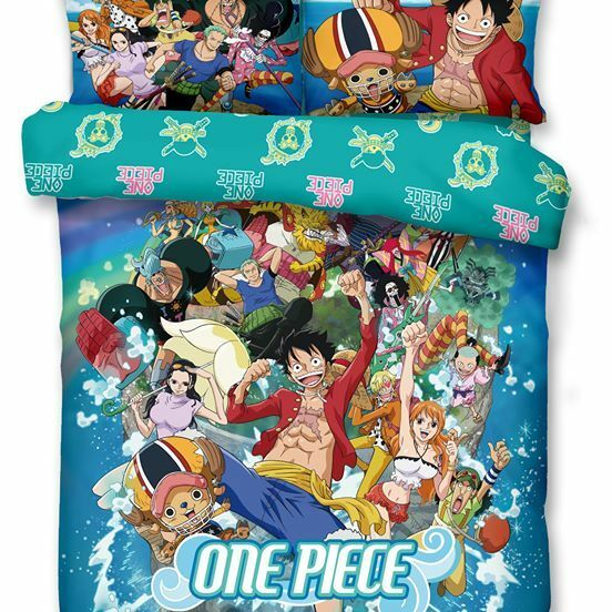 One Piece Fitted Sheet Pillow Case Quilt Cover Bedding Straw Hat Pirates Luffy