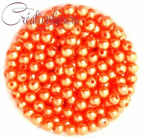 100 Perles ronde nacré acrylique orange 6 mm