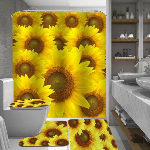 4Pcs Sunflower Home Decor Shower Curtain Bathroom Toilet Seat Cover Bath Mat