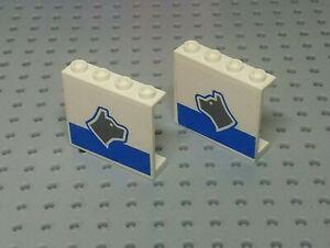 Lego-Panel-1x4x3-Hohl-Nieten-Aufdruck-Hund-auf-bluestripe-4215bpb33l-amp-r-WEISS-x2