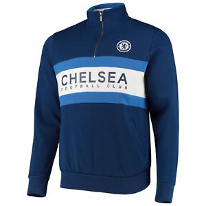 Navy Chelsea FC Official Men/'s Football 1//4 Zip Sweatshirt Top New