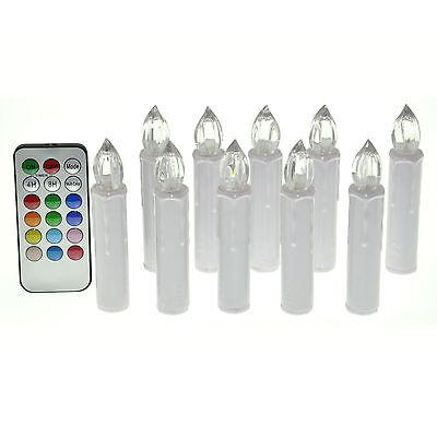 10PCS RGB Tea Flameless Remote Control LED Candle Light Wedding Xmas Tree Party