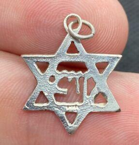 Vintage-925-Sterling-Silver-Star-Of-David-Hebrew-Charm-Pendant-3-4
