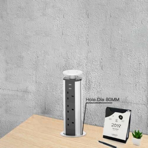 1.9M Pop Up Socket Aluminum alloy Kitchen Worktop  3 Socket 2 USB Safety Switch
