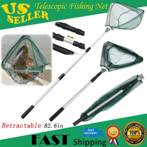 Collapsible Fishing Net Foldable Aluminum Handle Telescopic Fish Landing Gift US