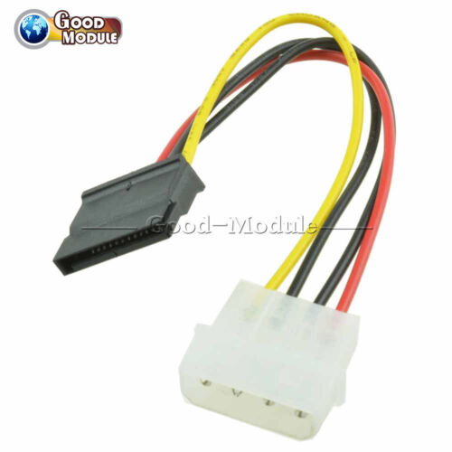 2PCS Male Female 4 Pin Power Drive Adapter Cable to Molex IDE SATA 15-Pin TOP