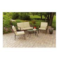 Outdoor Patio Furniture Deals Cushioned 4 Piece Patio Conversation Tan Seats Set