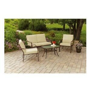 Outdoor Patio Furniture Deals Cushioned 4 Piece Sofa ...