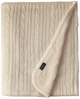 "Brielle Cozy Cable Knit Throw with Sherpa Lining, 50"" by 60"", Ivory"