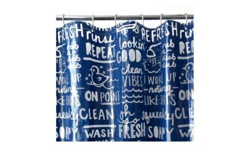 Room Essentials PEVA New Bathtime Words Shower Curtain Blue