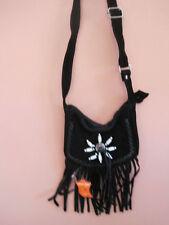 Genuine Soft Black Suede Leather Western Shoulder bag fringed w/ belt loop beads