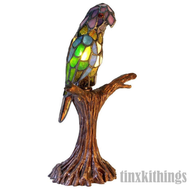 Parrot Stained Glass Table Lamp 16.5in Accent Desk Light Decor Bird Animal  Shade
