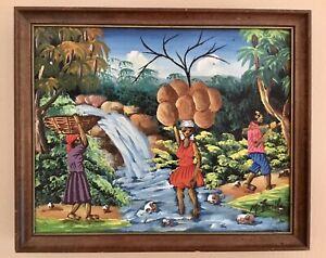 Original Painting Haiti Haitian Art M Emile Ethic Black People Colorful Scenery