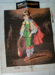 PAINTED-NEEDLE-POINT-CANVAS-BUCILLA-BOY-WITH-CAPE-AND-HAT-28-034-X-23-034