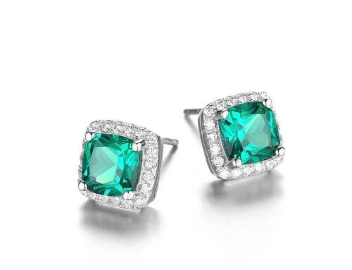 Neuf avec étiquettes-HH Lab Created Emerald Luxe Boucles D/'Oreille-Argent Sterling 925
