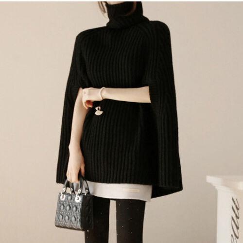 Korean Women/'s Collared Knitting Sweater Cape Loose Cloak Coat Bat Sleeve D022