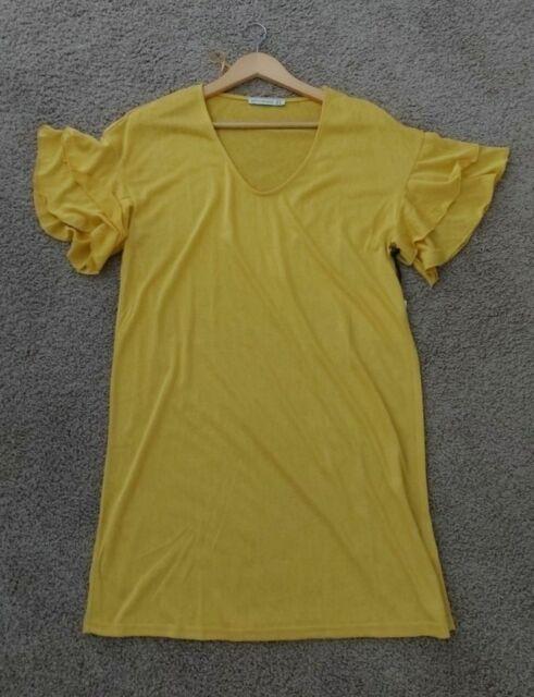 Women Summer Short Sleeve Yellow  Sundress Size 10