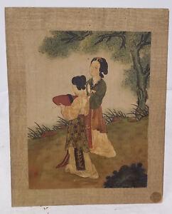 silk scrolls painted asian Antique