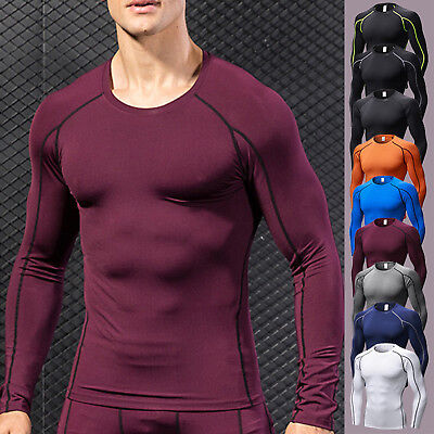 Men Compression Short Sleeve Sports Tight Shirts Fitness Gym Base Layer Tops US