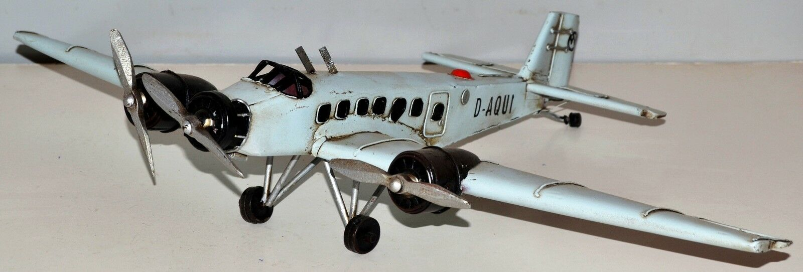 Junkers Ju - 52 1930 Aircraft Sheet Metal Model Tin Vintage Plane 34x52 cm 37230