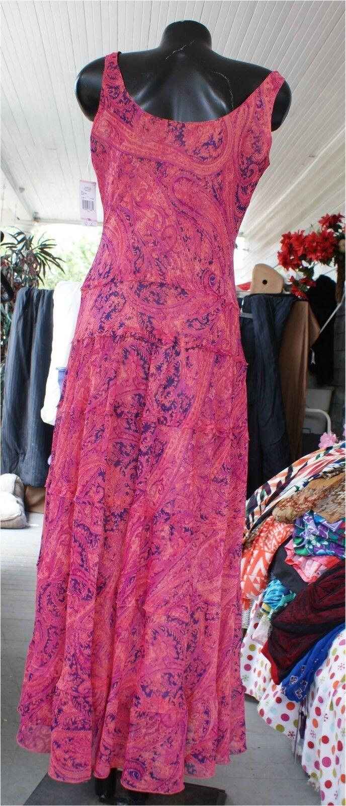JONES WEAR LINED PINK DRESS DRESS DRESS LONG SIZE 10 SUMMER SLEEVELESS Paysley f00231