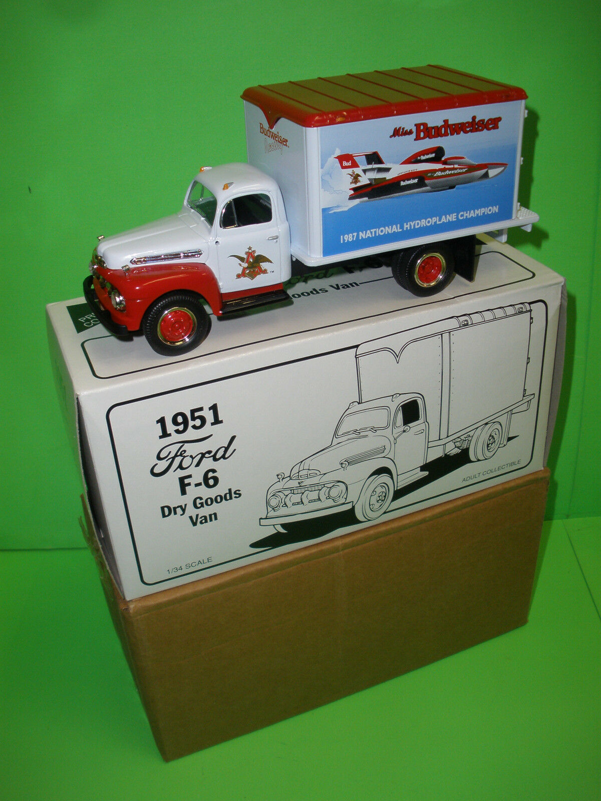 Budweiser 1951 FORD F-6 Dry Goods camion de livraison Van Replica Hydroglisseur champion
