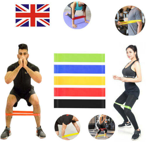 Set of 5 Level Resistance Exercise Loop Bands Home Gym Fitness Natural Latex UK
