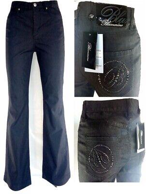 Jeans Donna Bootcut Taglia 40 Bluemarine Nero Swarovsky Vita Alta Rrp € 540,00 Fornitura Sufficiente