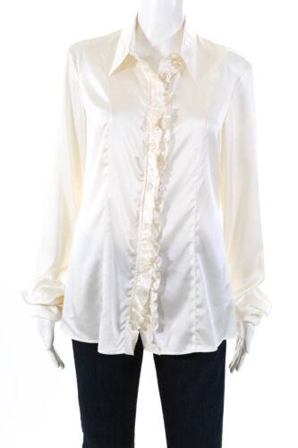 Armani Collezioni Womens Silk Ruffle Trim Button D